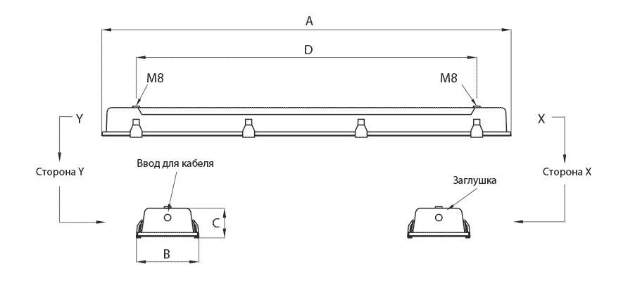 Габаритные размеры и вес светильника AVCEX