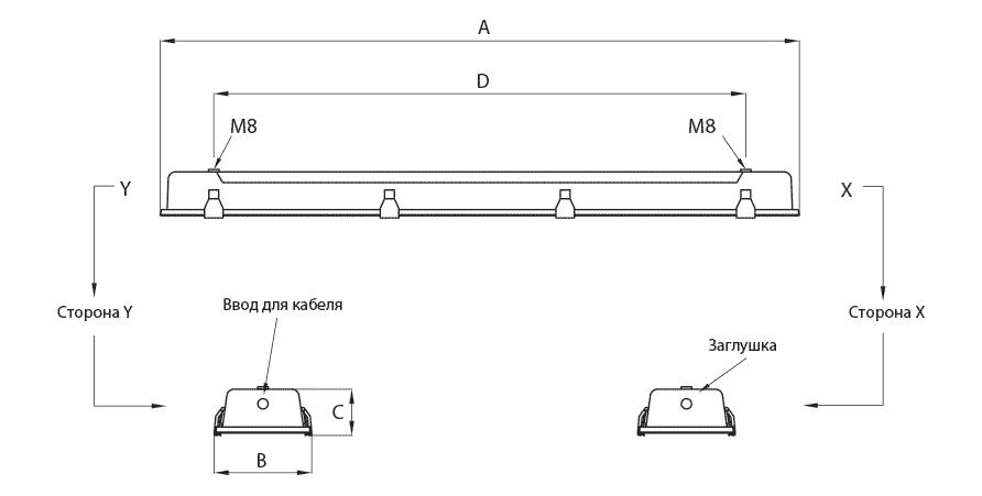 Габаритные размеры и вес светильника AVCX