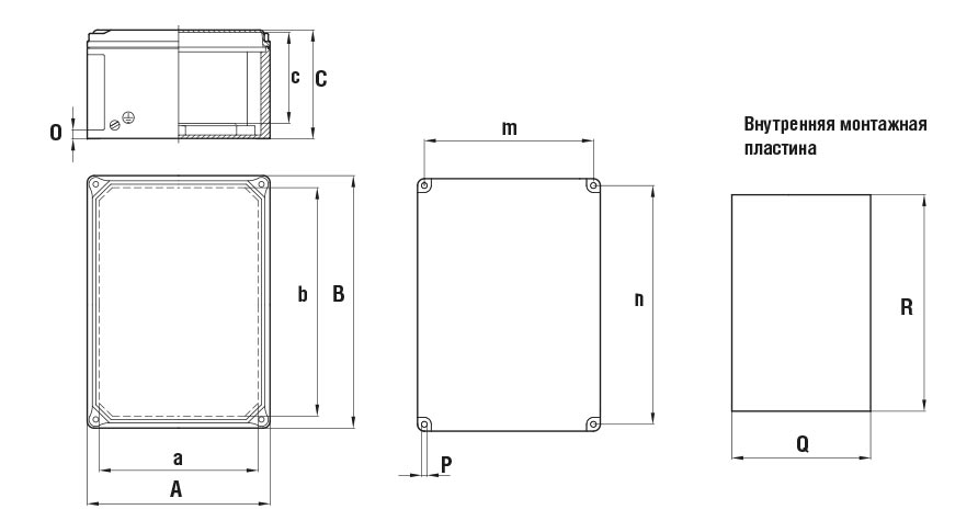 Габаритные размеры и вес коробок серии КНВ-А