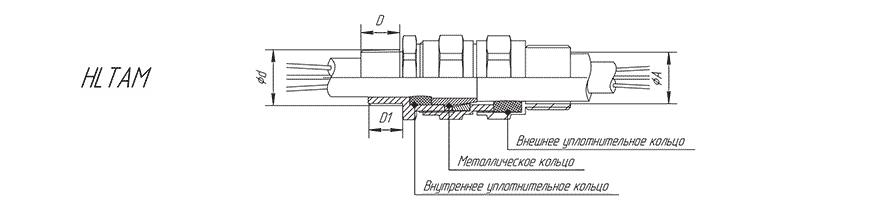 Кабельный ввод серии HLTAM для бронированного кабеля с присоединением на трубу (наружная резьба)