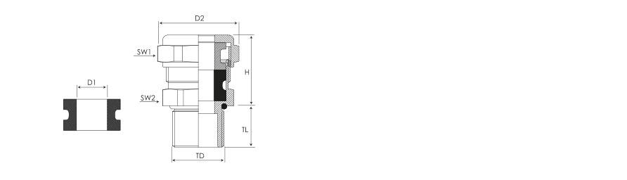 Кабельный ввод серии КВU для небронированного кабеля