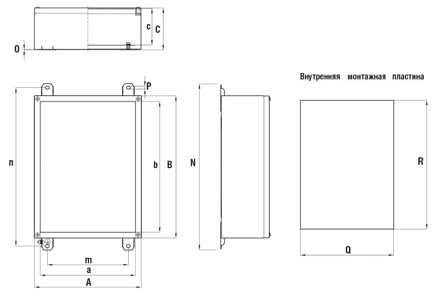 Габаритные размеры и вес неглубоких коробок серии КНВ-Н без фланцев