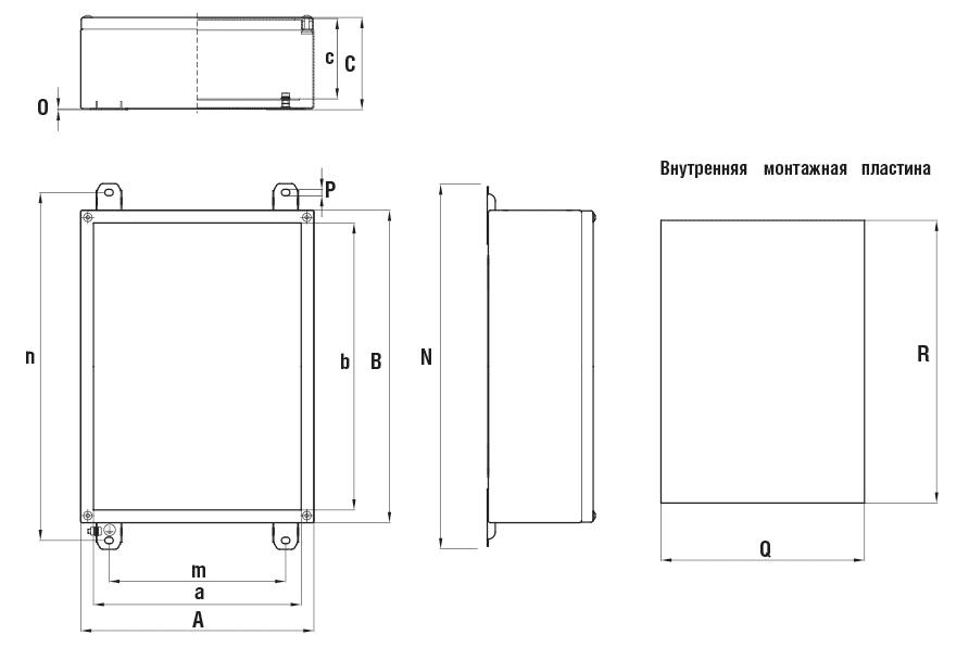 Габаритные размеры и вес глубоких коробок серии КНВ-Н без фланцев