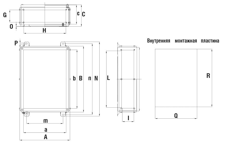 Габаритные размеры и вес глубоких коробок серии КНВ-Н с фланцами
