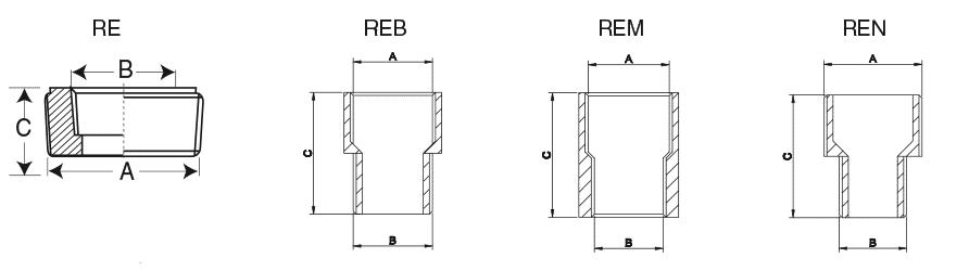 Переходники и адаптеры серий RE, REB, REM и REN