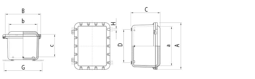 Взрывозащищенные корпуса из алюминиевого сплава свидом защиты 1 Ex d IIB+H2, 1 Ex d IIC T6…T3 Gb X (без ацетилена) серии УНВ(В) и УНВ(В) с окном