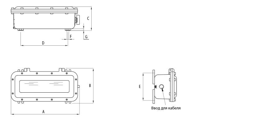 Габаритные размеры светового аварийного указателя УНВ(В)-ТАБЛО-LED