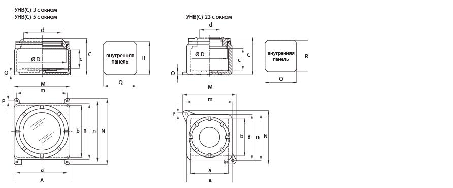 Габаритные размеры и вес корпусов серии УНВ(С) с окном