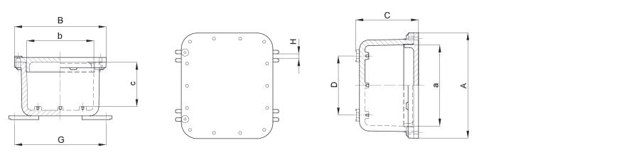 Габаритные размеры и вес корпусов серии УНВ(С) из алюминия