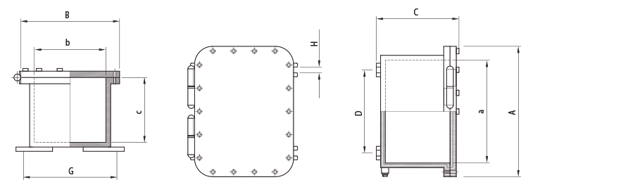 Габаритные размеры и вес корпусов серии УНВ-Н(В)
