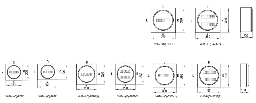 Габаритные размеры и вес корпусов серии УНВ(С)-Н